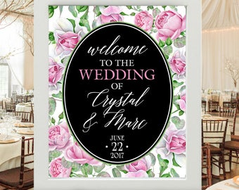 "Wedding Sign - Welcome to our Wedding Personalized Poster | Pink, White, Green Floral Rose Background with Names of Bride & Groom 16""x20"""