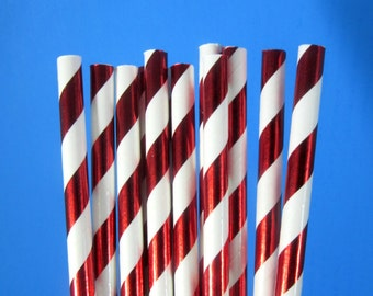 Red Foil Stripe Straws Red Metallic Straws Christmas New Years Birthday Holiday Metallic Red Straws Cake Pops Mason Jars Decorations