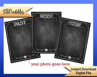 Printable grad sign, birthday printable, past present future sign, Diy party decoration, DIY grad party sign, DIY birthday party, DIY sign