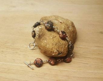 Leopardskin jasper bracelet. Reiki jewelry uk. Wire wrapped bracelet. Brown semi precious stone