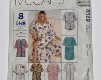 Vintage  McCalls Sewing Pattern 8569, 1996 Pattern, Misses Robe Pattern in Three Lengths,  Size Ex Large 20-22, Quiltsy Destash Party