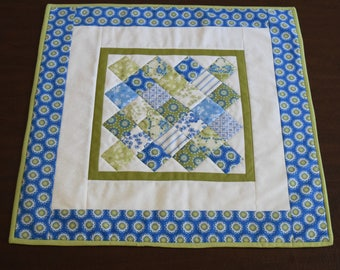 Quilted Blue and Green Table Topper 23""