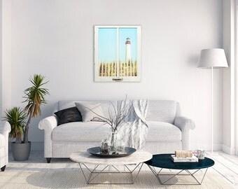 Cape May Lighthouse Window Frame Wall Decor, Large Beach Photography, Beach House Decor, New Jersey Art, Window Frame Art
