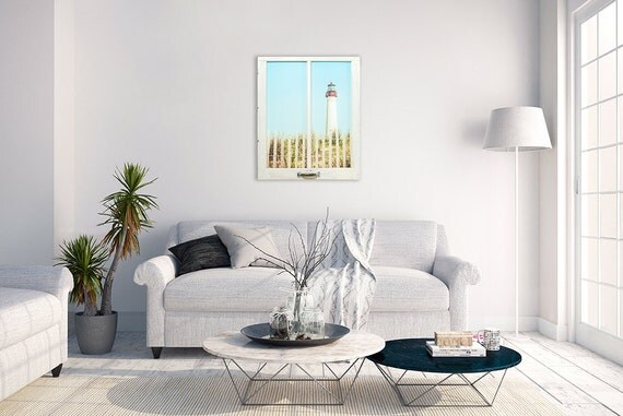 Cape May Lighthouse Window Frame Wall Decor Large Beach