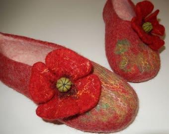 Felted Wool ''Poppy Slippers'' made in SCOTLAND, Edinburgh