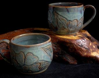 Handmade Blue Coffee Mugs Set of 2; cappuccino mugs, tea cups, carved pottery, rustic pottery, ceramic mugs