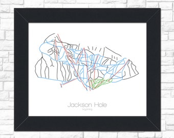Jackson Hole Map Wyoming WY Ski Snowboard Trail Art --- Print, Poster, Picture --- Frame, Gift, Present --- Resort, Mountain, Snow, Winter