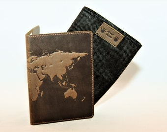 "Sale!!! Handmade Premium Leather Passport cover case / holder ""World Map 3D Print"" 133*192mm **FREE USA SHIPPING**"