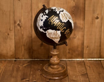 Hand painted black, white, and gold globe | world globe | home decor | office decor | travel globe | wanderlust | lettering