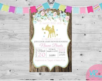 Little Deer rustic baby shower invitation, Girl, DIY Printing, Printable Digital File PLUS FREE Thank You card