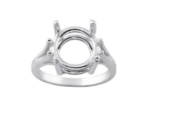9mm - 15mm Round Pre-Notched Wire Mount Solid Sterling Silver Ring Setting Size 7