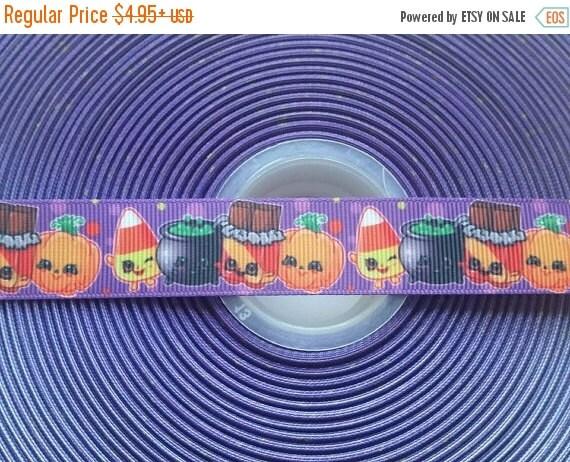 "HOT DEAL Shopkins Halloween Candy 7/8"" Grosgrain Hair Bow Craft Ribbon 782601"