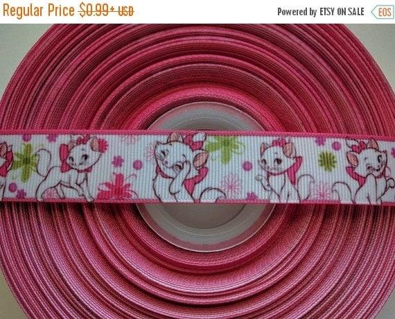 "SUPER SALE MARIE Cat Aristocats 7/8"" 22mm Grosgrain Hair Bow Craft Ribbon 782608"