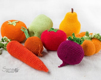 Personal Set of 5 Crochet Vegetables and Fruits, Doll Food, Farmers Market Food, Waldorf Toys, Summer Kitchen Decor, Choose Your Own Set 5