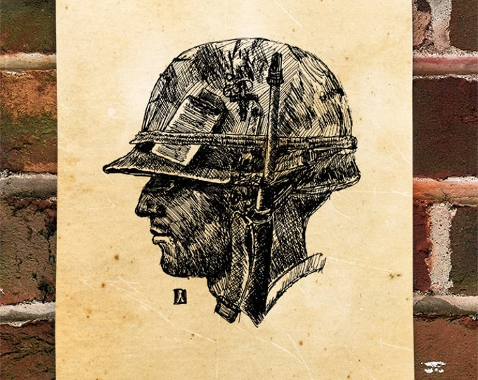 KillerBeeMoto: Limited Hand Drawn Print of U.S. Marine - Vietnam Print 1 of 100