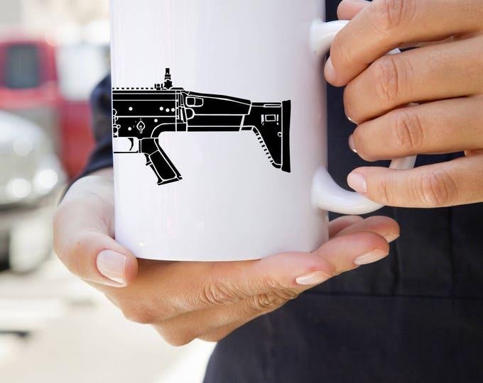 KillerBeeMoto:  U.S. Made FN SCAR Battle Rifle On A Coffee Mug