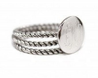 Monogrammed Sterling Silver Stackable Ring