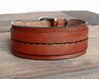 Genuine Leather Bracelet, Narrow Leather Wristband, Men Women Leather Cuff, Red Brown Bracelet, Leather Bangle.