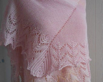 pink lace shawl, hand knitted, merino