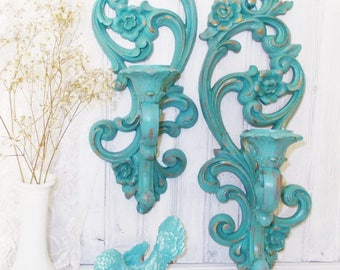 MBS Ornate Vintage Homco Wall Candle Holders, Painted Turquoise Candle Holders, Candle Sconce