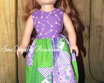 "Doll Dress - Purple arrows and patchwork - for 18"" doll like American Girl"