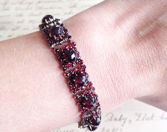 Antique bohemian garnet bracelet. Antique garnet bracelet. Bohemian bracelet. Antique Victorian bracelet.