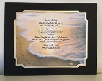 Gift for Pastor, Thank You Gift for Pastor, Pastor Appreciation, Minister Gift, Religious, Retirement, Christmas, Footprints in the Sand