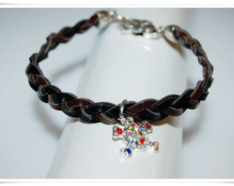 Leather Bracelet braided skull braided bracelet genuine leather skull