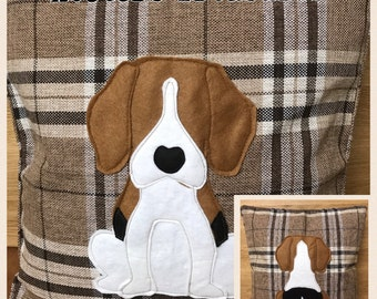 beagle - brown tartan Cushion with a tail