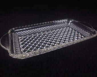 Wexford Relish Tray by Anchor Hocking Rectangular Scalloped Edge Vintage Kitchen Glass Serving Piece