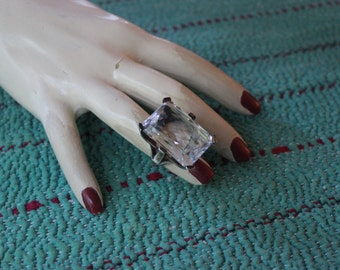 Vintage Sterling Ring with Incredible Faceted Rock Crystal created by Stephen Dweck