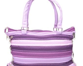 Purple Lavender Multi Zipper Bag