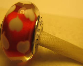 New Authentic Pandora 925 ALE Sterling Silver Red Sweethearts Bead Charm
