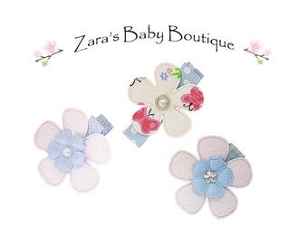 Baby Hair Clips * Blue * Pink * White * Butterfly Clips * Flowers * Clip Set * Clipppies * Toddler Girls * Zara's Baby Boutique