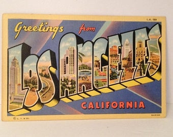 ON SALE Vintage 1942 Linen Postcard Greetings from LOS Angeles California Wwii Era Mailed Stamp Souvenir 1940's