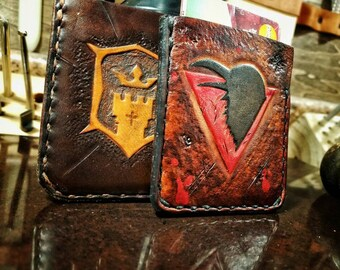 Custom Handmade Leather Card Wallets - Inspired by For Honor - Viking Wallet - Knight Wallet