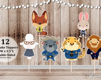 12 Animal Kingdom Inspired Toppers - Party Picks - Food Picks - Cupcake Toppers