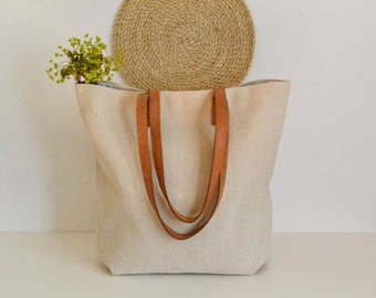 Large Linen Tote  Bag, Beach bag, Beach tote bag, French Market bag, Boho bag , Leather handles bag, Tote bag , Natural linen bag, Handbag
