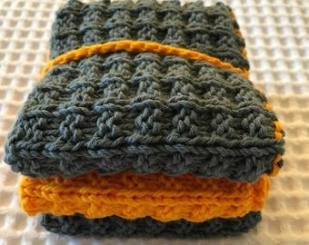 Dish Cloth / Wash Cloth Set of 3 Hand Knitted All Cotton Bright Colours