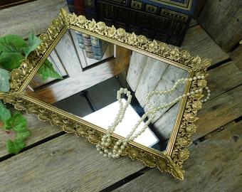 Beautiful Vintage Floral Filigree Vanity Mirror - Hanging Mirror