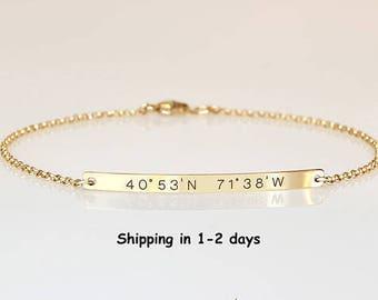 Coordinates bracelet, GPS Longitude Latitude Bracelet, Personalized Bar Bracelet, Customized Name, Engraved  Date Bracelet, Bridesmaids gift