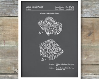 Harley Motorcycle Engine Head Patent 1985, Patent Print, Motorcycle Decor, Harley Davidson Patent, Harley Engine Blueprint, Wall Decor, P428