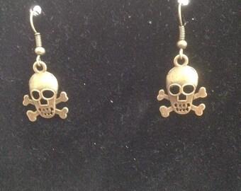 Tall Skull & Crossbones Charm Earrings