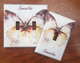 Butterfly light switch cover // Personalized // ** SAME DAY SHIPPING!