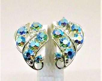 Blue Earrings - Vintage, Silver Tone, Blue Aurora Borealis Rhinestones, Clip on