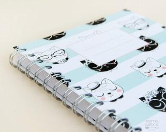 "SALE -30% Spiral Notebook ""Miau"", Cats notebook"