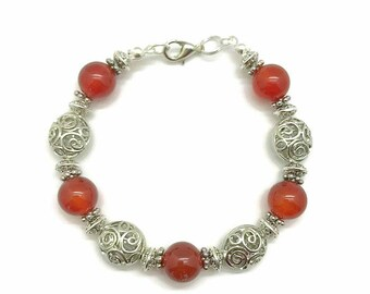 Red Agate Bracelet, Agate Bracelet, Agate Beads Bracelet, Red Agate Jewelry, Agate Jewelry, Natural Stone Bracelet, Dark Red Stone Bracelet