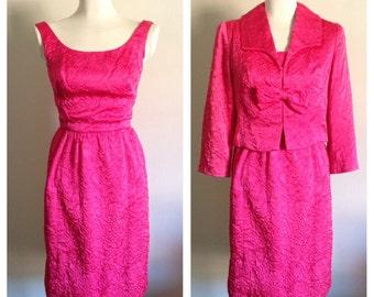 Vintage 1960s - bright pink designer Jackie O sleeveless sheath dress & matching bolero jacket - size XS / S - 32 Bust