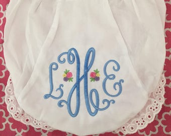 Monogrammed Bloomers,monogrammed diaper cover, personalized baby gift-Rosebud Monogram