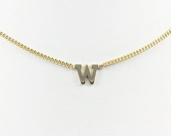 Tiny initial necklace in block, 10kt yellow gold
